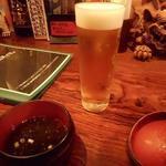 ぬちぐすい - オリオン生ビール690円とお通しのもずくの吸い物