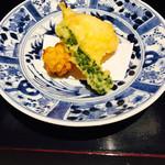 豆腐懐石 くすむら - 天ぷら ゴーヤ、キス、コーン、豆腐