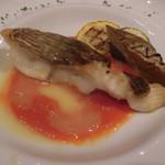 70323135 - 明石鯛のポアレ2色ソース、白焼きナス、 ズッキーニ添え