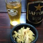 鳥平 - 中瓶ビール+お通し
