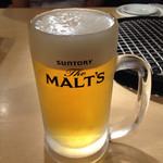 焼肉バル 三水苑 - ドリンク写真:生ビールはモルツです。