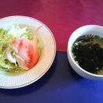 La Kasuga - ランチのサラダとスープ