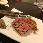 モモ キッチン - *ベーコンのステーキ 粒マスタード添え(¥700)
