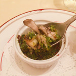 70394906 - 【温かいオードブル】                       舞茸とツブ貝の香草オーブン焼き                       コリコリした食感が楽しい!