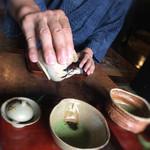 じゅらく - お抹茶にネルドリップの珈琲を注いで頂きます