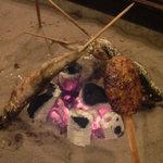 旅館むら山 - 料理写真:いろりで焼いた岩魚と五平餅