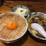 みなと食堂 - 平目漬丼せんべい汁セット