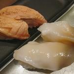 寿司と炉端焼 四季花まる - 炙りサーモンと活ほっき
