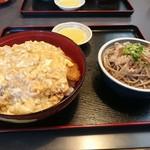 つる庵 - カツ丼ミニおろし蕎麦セット1100円