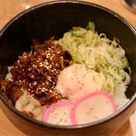 天ぷら串ともつ鍋 奥志摩 - 冷ぶっかけ温玉肉うどん