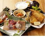 海湘丸 - 漁師定食1320- 刺身+フライ+魚料理