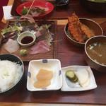 平塚漁港の食堂 - 地魚刺身5点盛り