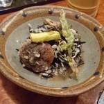 朔 - ひじきとチーズの雑炊 天ぷら乗せ