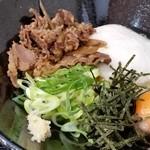 うどん豊前屋 - 2017/7 山いもぶっかけ大盛り+肉+たまご