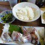 70470151 - ◉さすけ定食(アジフライと刺身)  税込み1500円→横に続きます。
