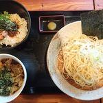 70472070 - 油かすつけ麺+お得なランチセットCラー油ご飯セット@実咲庵(2017年6月某日)