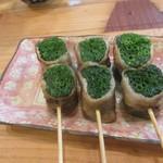 須崎屋台かじしか - 他の屋台には無かった色鮮やかなネギ巻きなどの焼き物はこちらでも健在でした。