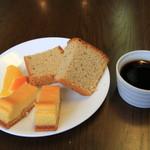 伝 - チーズケーキとシフォンケーキとコーヒーゼリー