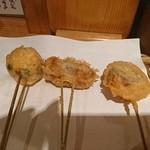 70490286 - 左から、豆腐・ほうれん草の豚肉巻き・海老と茗荷