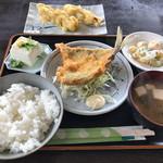 国八食堂 - 鯵フライ定食+那須天ぷら