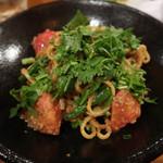 キャラヴァンサライ包 - ラグマン(羊挽肉とトマトとシシトウのゴマだれ和え麺)