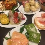 Piattini Micio - おまかせ前菜小皿盛り5皿 の一例
