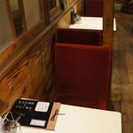 あくびカフェー - 二人掛けのテーブル席が奥に続きます(2017.7.24)