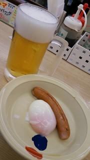松屋 - 松屋 生ビール&ソーセージ半熟玉子
