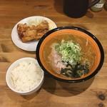 70557753 - ザンギ定食 熟成あら味噌ラーメン (ねぎ増し 塩ザンギ1個 ライス小 )