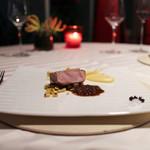 エノテーカ ピンキオーリ - イタリア産仔牛 なめらかなポレンタと とうもろこし ポルチーニ茸のソース☆