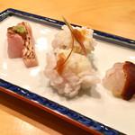 オステリア あんじゅ 西麻布 - 〈一皿目の前菜〉ミシマオコゼ、鱧の身とたまご、のどぐろ。