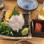 まるこ - ウスバハギ500円税別とお通しのトマト300円?