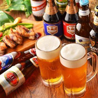 世界のビール20種類以上。キンキンに冷えたビールで乾杯!