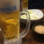 旨唐揚げと居酒メシ ミライザカ - 生ビール(プレミアムモルツ香るエール)