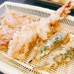 だるまの天ぷら定食 - ◎豚しゃん◎海老しゃん○オクラしゃん