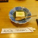 昇月庵 - お通しのジュンサイと玉子豆腐