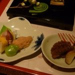 野菜割烹 あき吉 - うるい、蛍烏賊の辛子酢味噌和え,鯛の子旨煮,玉子真丈,飯蛸旨煮