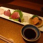 野菜割烹 あき吉 - 造り 5種盛り(中トロ、平目、鰤、烏賊、赤貝