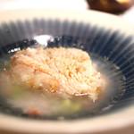 70645255 - グジの鱗焼き 実山椒風味のスープ