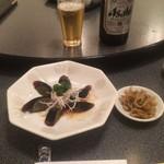 翔園 - ピータン、搾菜でビール(2017,7)