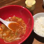 博多とんこつばり - スープタコスめんは替え飯ができます(*´∀`*)