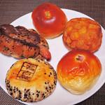 こころにあまいあんぱんや - 自分用のお土産には、この5種類のパンを買ってみました。