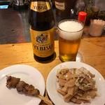てっちゃん - 白レバー&チャーシューメンマ&瓶ビール