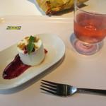 IKEAレストラン&カフェ - クワークチーズムース ベリーソース添え、ノルディックフルーツウォーター(ドリンクバー)
