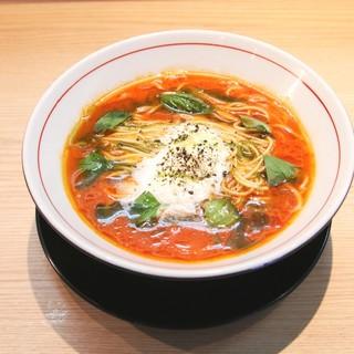 拉麺開花 - 料理写真:大好評の「トマトクリームラーメン」は、リゾット風の〆まで美味しい1杯です☆