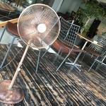 グローブカフェ - 見つめ合う扇風機とσ( ̄。 ̄) オイラ