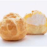 北菓楼 - シュークリーム「ダブルシュー」 小さいサイズ。  生クリーム+カスタードクリーム。 生クリームとチョコカスタードクリームの2種類あり、 二層のクリーム。