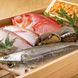 市場より仕入れる鮮度の高い海鮮