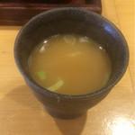 70723826 - おちょこみたいなスープだけはNGです。                       小さすぎ。味は…濃厚な鶏ガラスープ。