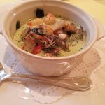 シェ・アキラ - 前菜 シーフードと卵の温かいココット